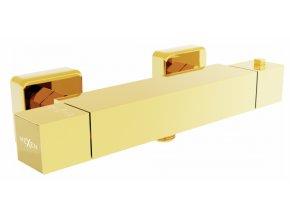 Sprchová nástěnná termostatická baterie DIVIO MEXEN CUBE zlatá