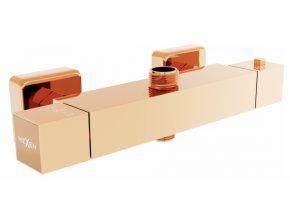 Sprchová nástěnná termostatická baterie DIVIO MEXEN CUBE 2 rose gold