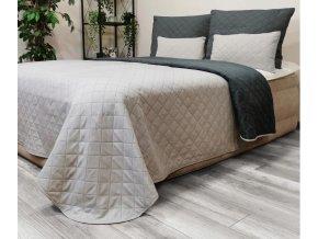 Oboustranný přehoz na postel DIANA 220x240 cm grafitová-světle šedá