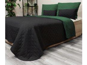 Oboustranný přehoz na postel DIANA 220x240 cm zelená-černá