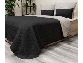 Oboustranný přehoz na postel DIANA 220x240 cm černá-světle šedá