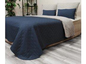 Oboustranný přehoz na postel DIANA 220x240 cm tmavě modrá-světle šedá