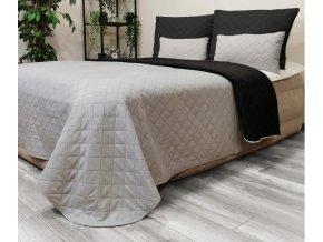 Oboustranný přehoz na postel DIANA 160x200 cm černá-světle šedá