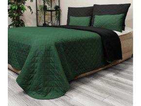 Oboustranný přehoz na postel DIANA 160x200 cm zelená-černá