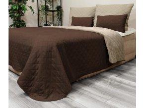 Oboustranný přehoz na postel DIANA 160x200 cm světle béžová-hnědá