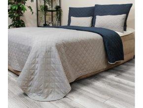 Oboustranný přehoz na postel DIANA 200x220 cm tmavě modrá-světle šedá