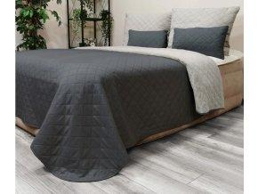 Oboustranný přehoz na postel DIANA 200x220 cm grafitová-světle šedá
