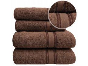 Sada ručníků a osušek LARIX - Hnědý