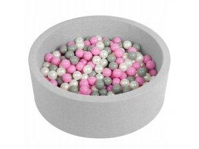 """Dětský suchý bazének """"90x30"""" s míčky šedo-růžové 300 ks"""