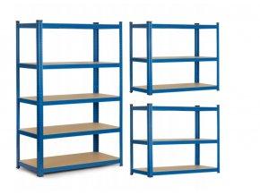Kovový regál modrý 150 x 75 x 30 cm
