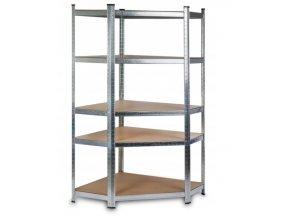 Rohový kovový regál stříbrný 180 x 90 x 40 cm