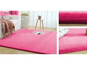 Kusový koberec RABBIT - Tmavě Růžový - imitace králičí kožešiny