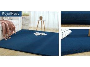 Kusový koberec RABBIT - Tmavě Modrý - imitace králičí kožešiny