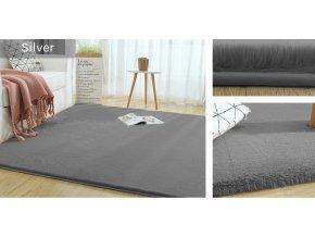Kusový koberec RABBIT - Stříbrný - imitace králičí kožešiny