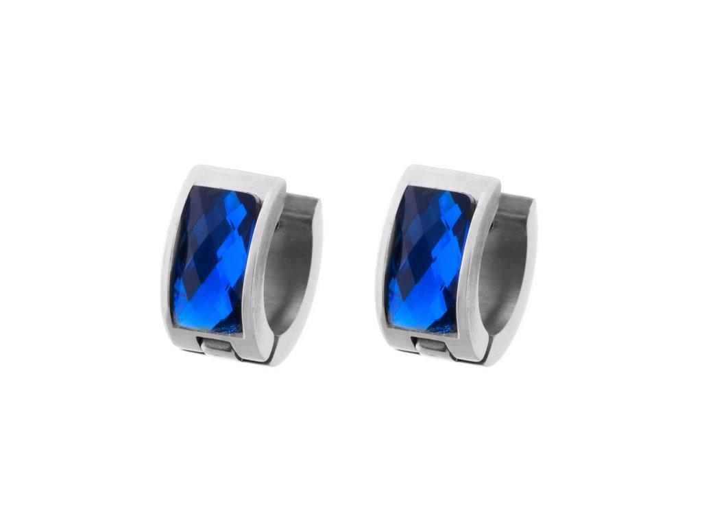 Ocelové náušnice kroužky - modrá