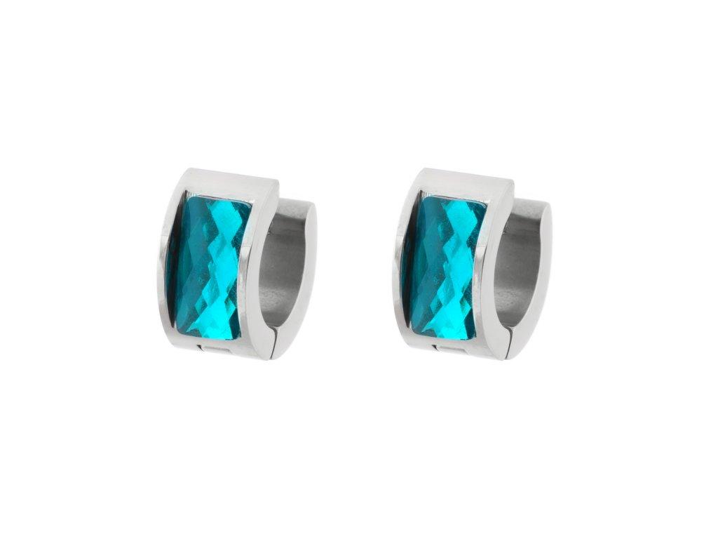 Ocelové náušnice kroužky - tyrkysová