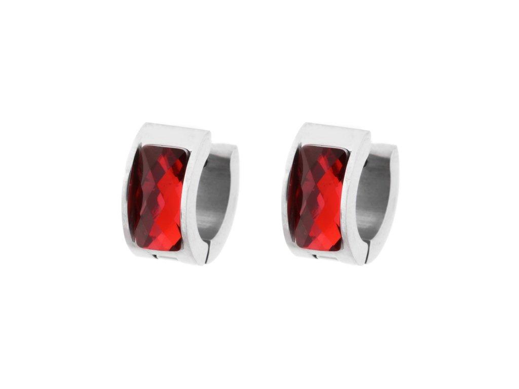 Ocelové náušnice kroužky - červená