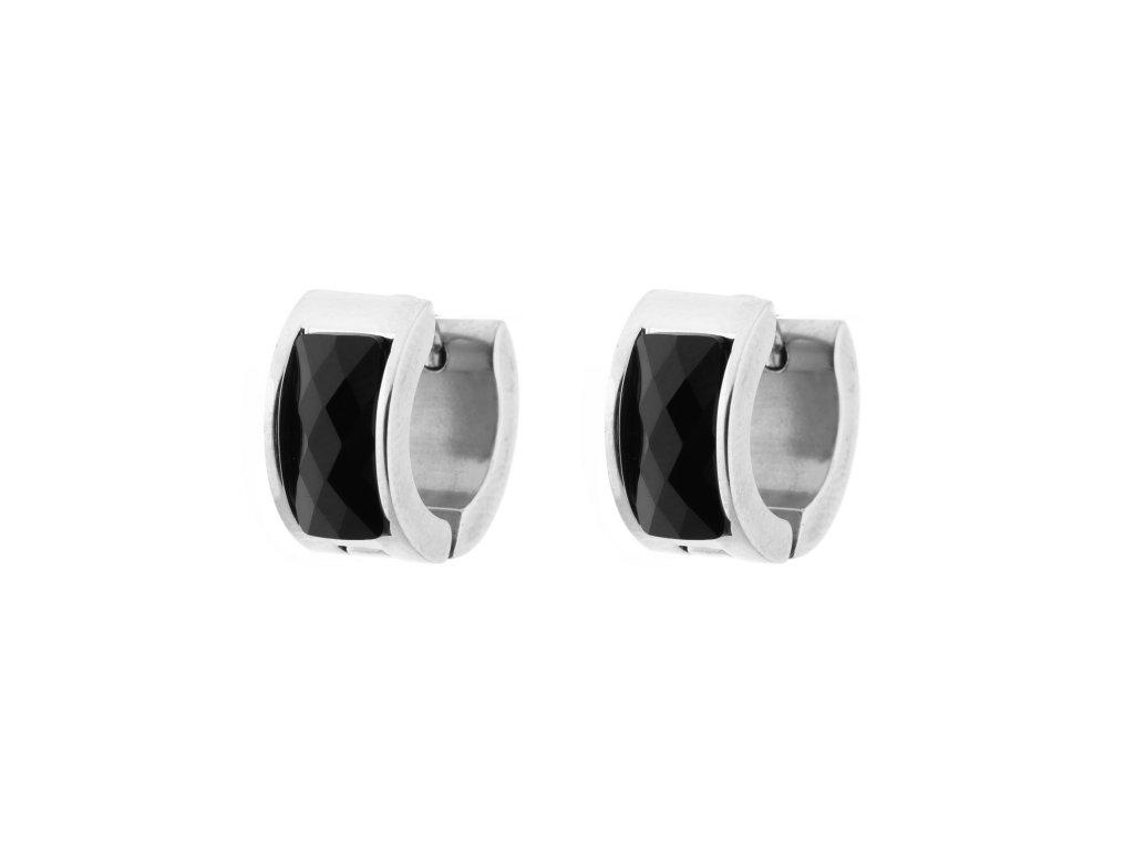 Ocelové náušnice kroužky - černá