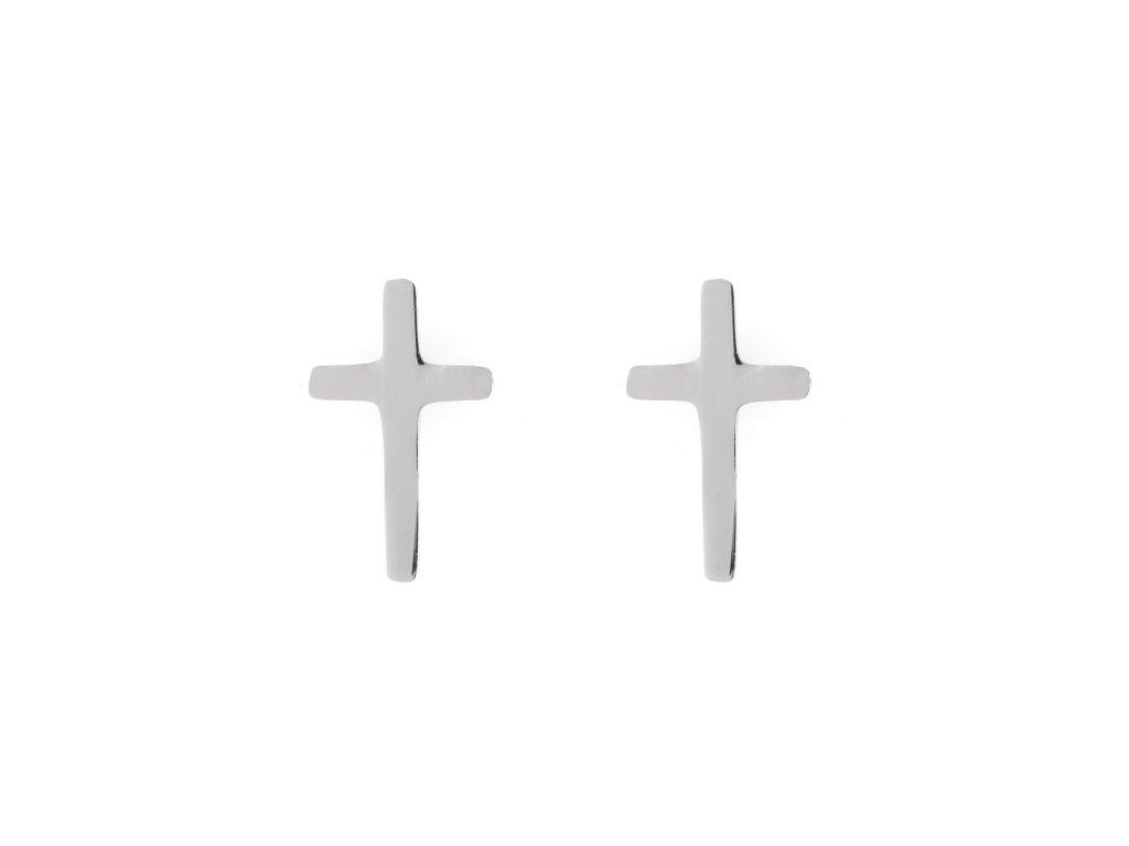 Ocelové náušnice pecky křížek