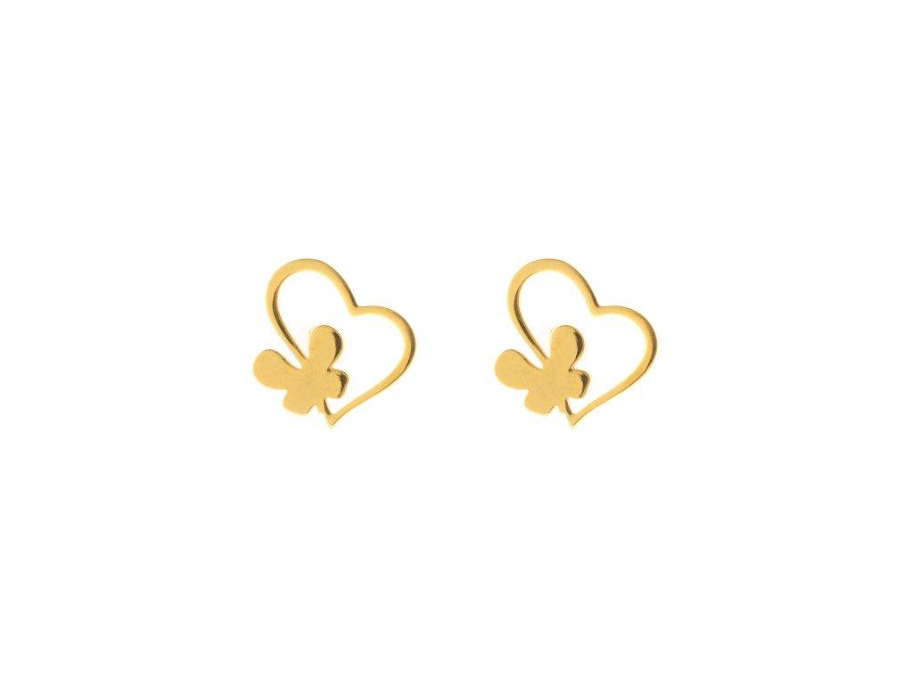 Ocelové náušnice pecky srdce s motýlem zlaté