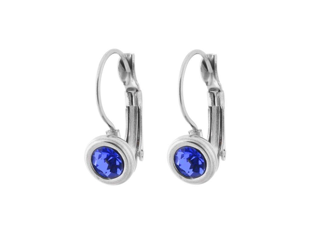 Ocelové visací naušnice s modrým kamínkem