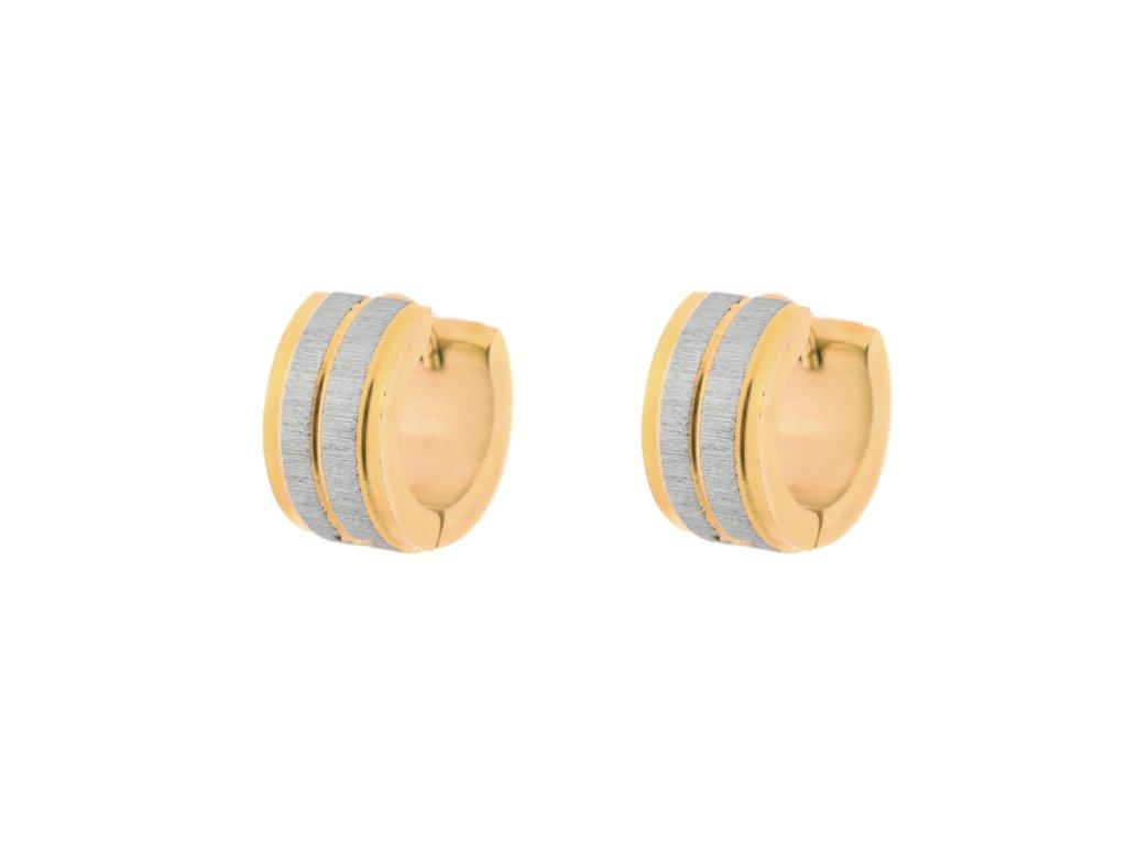 Ocelové náušnice kroužky pískované a leštěné stříbrné/zlaté