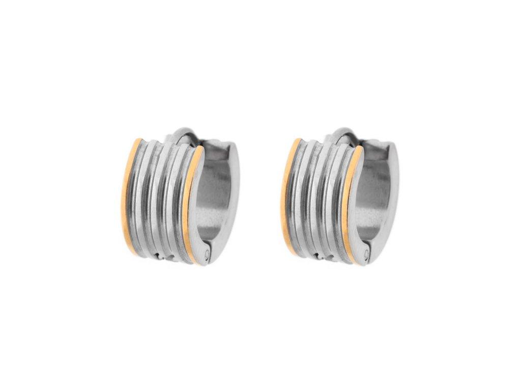 Ocelové náušnice kroužky leštěné stříbrné/zlaté