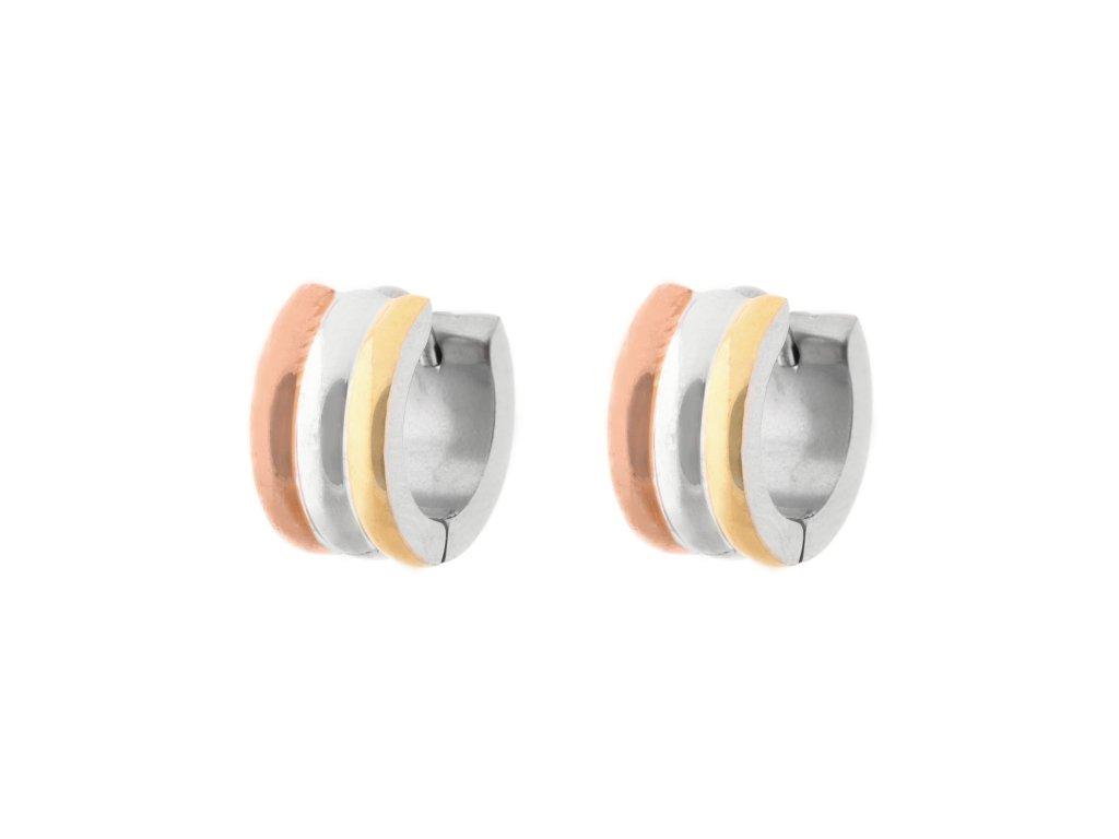 Ocelové náušnice kroužky leštěné stříbrné/zlaté/rosegold