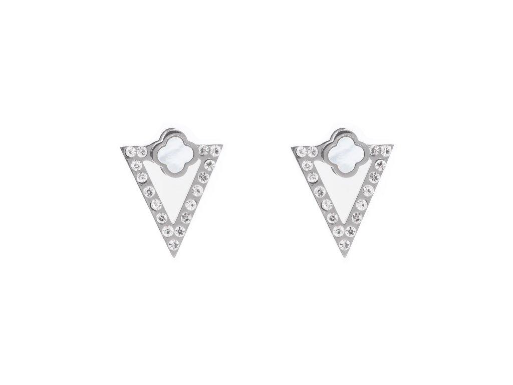 Ocelové náušnice pecky trojúhelníky s perletí a kamínky
