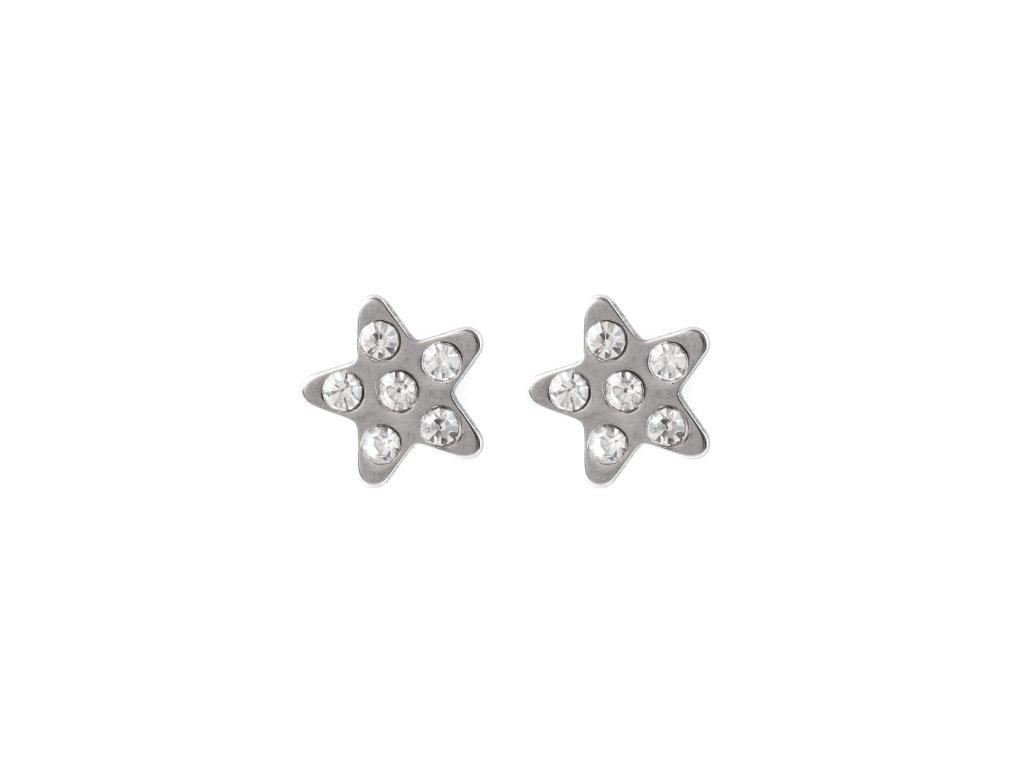Ocelové náušnice pecky hvězdy s kamínky