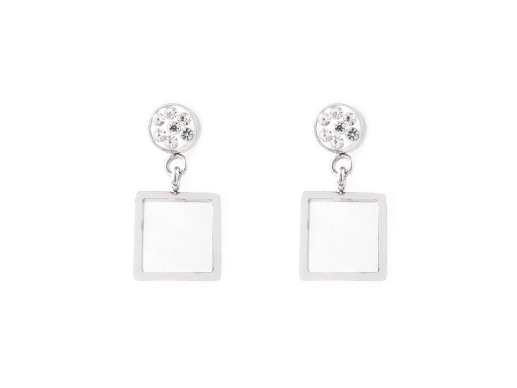 Ocelové visací náušnice perleťový čtverec a kamínky