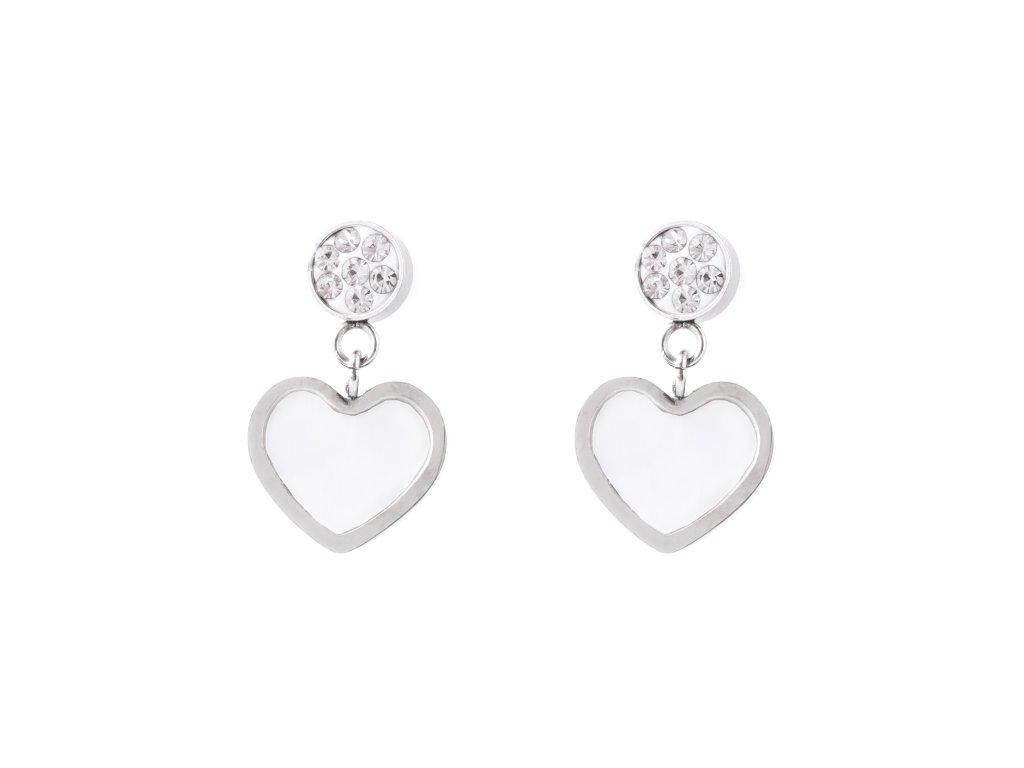 Ocelové visací náušnice perleťové srdce s kamínky