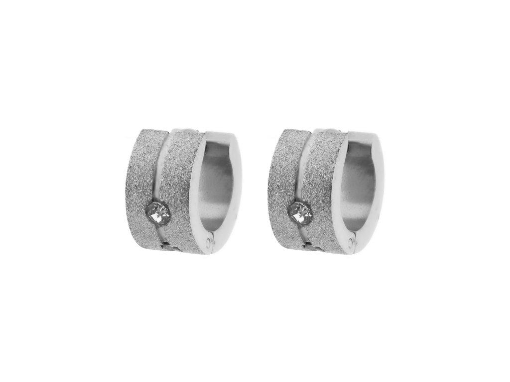 Ocelové náušnice kroužky pískované s kamínkem