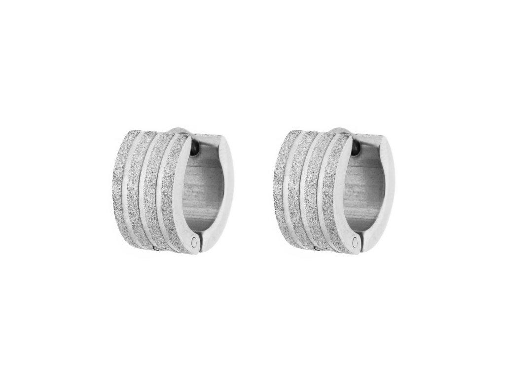 Ocelové náušnice kroužky pískované s proužky