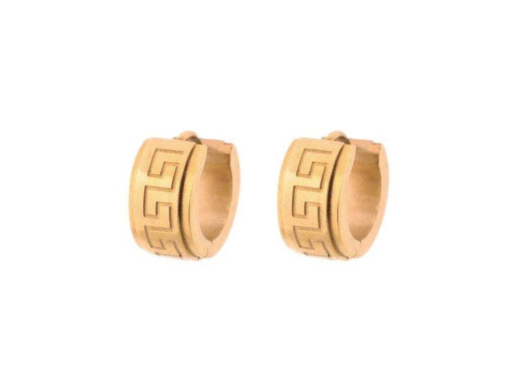 Ocelové náušnice kroužky řecký styl zlaté