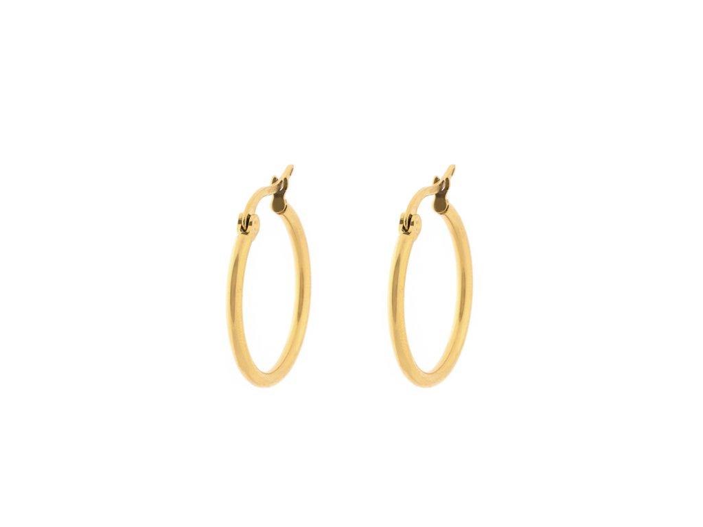 Ocelové náušnice kruhy 2,5 cm zlaté