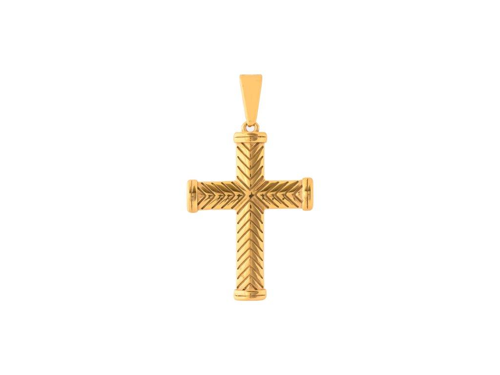 Ocelový přívěsek kříž zlatý