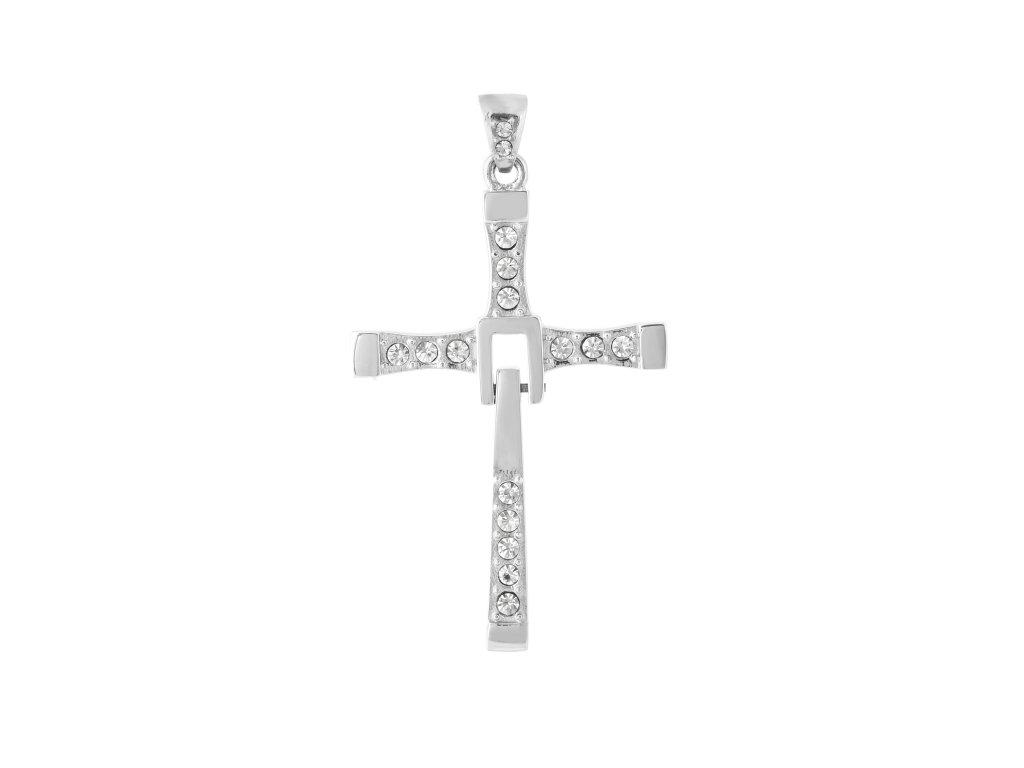"""Ocelový přívěsek kříž """"DOM"""" s kamínky"""