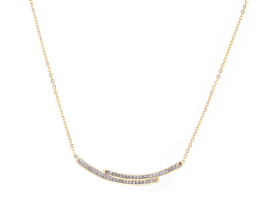 Ocelový náhrdelník TIDE zlatý s krystalky