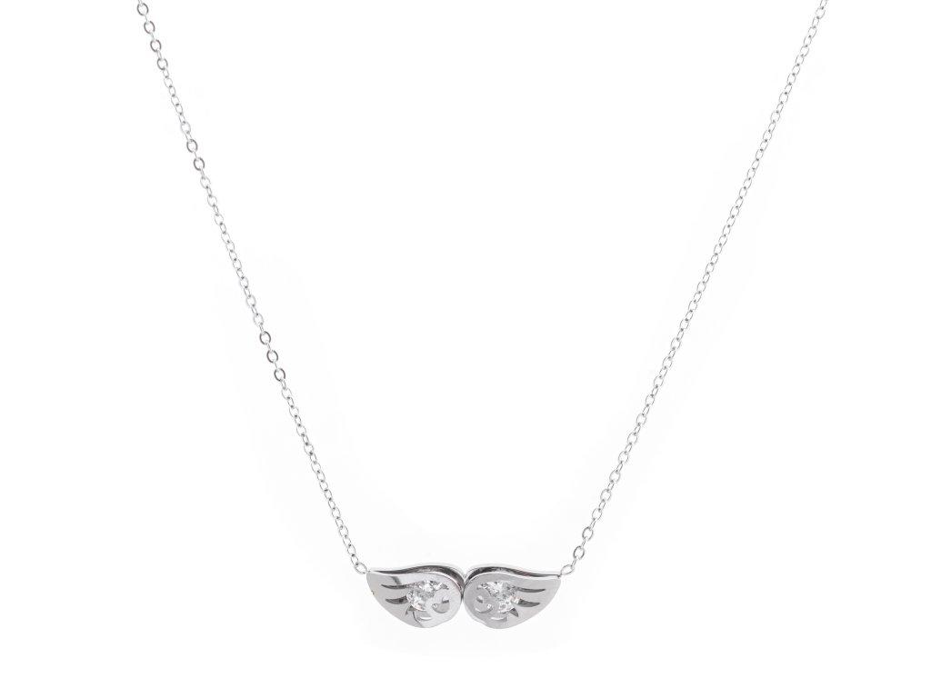 Ocelový náhrdelník ANGEL WINGS stříbrný s krystalky