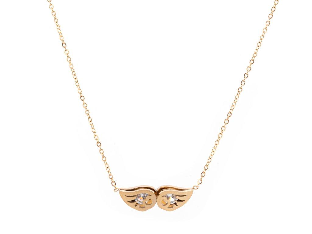 Ocelový náhrdelník ANGEL WINGS zlatý s krystalky