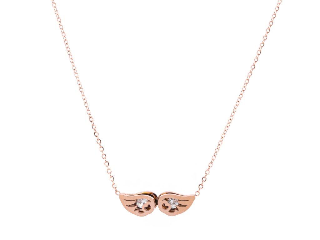 Ocelový náhrdelník ANGEL WINGS rose gold s krystalky