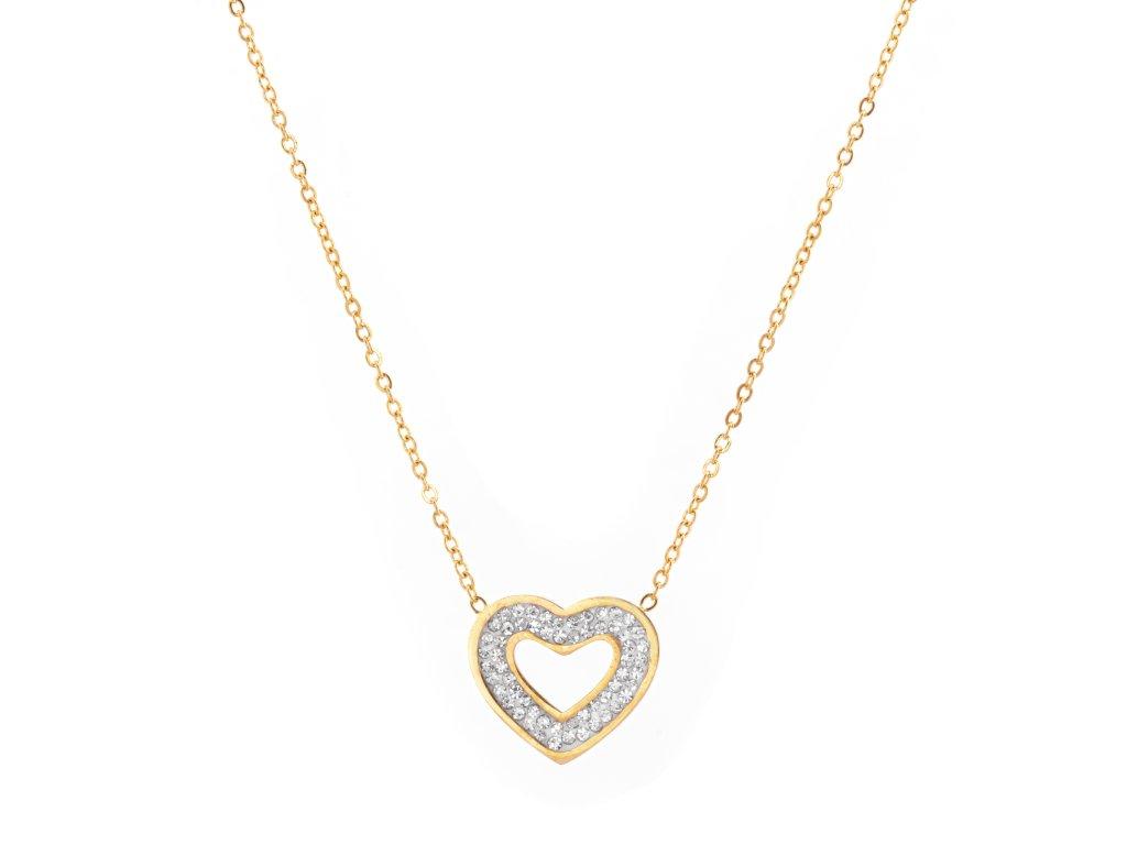 Ocelový náhrdelník HEART FANCY zlatý s krystalky