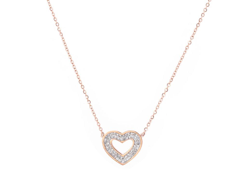 Ocelový náhrdelník HEART FANCY rose gold s krystalky