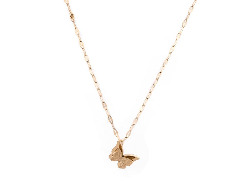 Ocelový náhrdelník BUTTERFLY zlatý