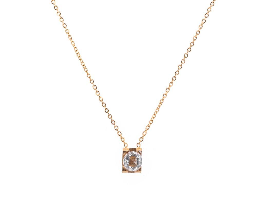 Ocelový náhrdelník GEM zlatý s krystalkem