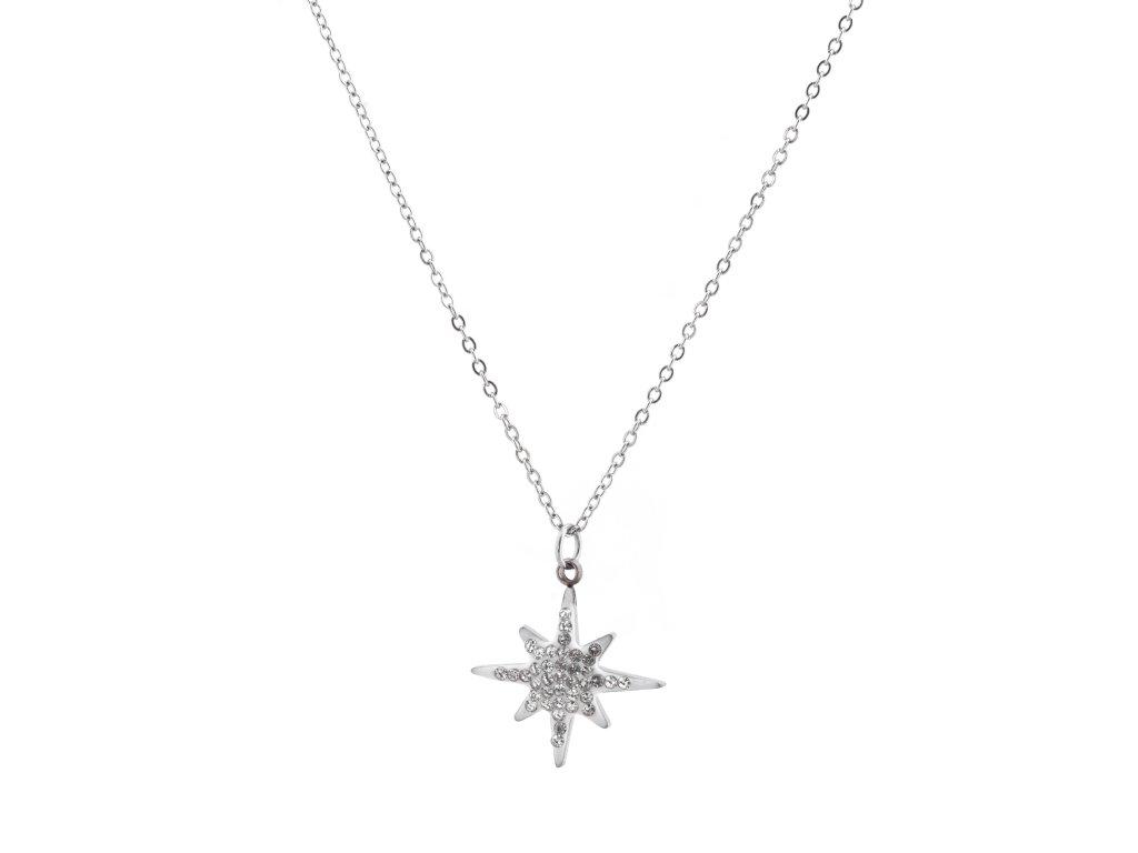 Ocelový náhrdelník STARLET stříbrná s krystalky