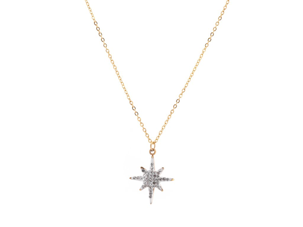 Ocelový náhrdelník STARLET zlatá s krystalky