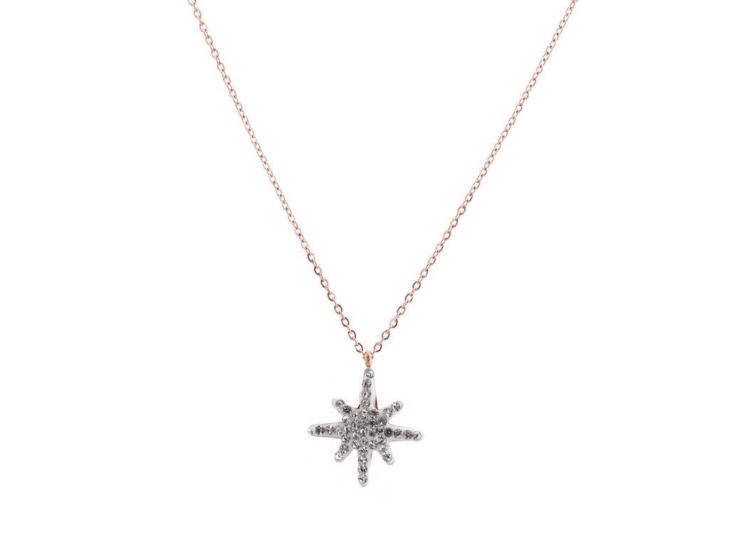 Ocelový náhrdelník STARLET rose gold s krystalky