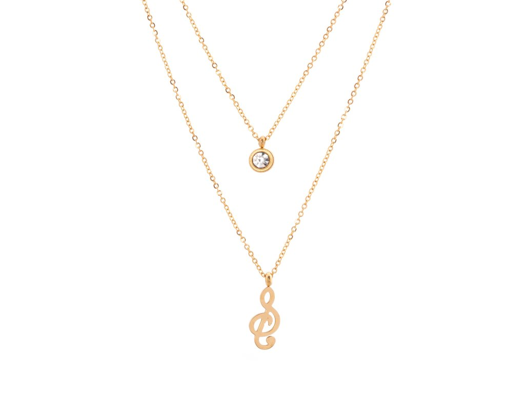 Dvojitý ocelový náhrdelník TONE zlatý s krystalkem